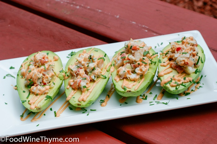 Photo Credit http://foodwinethyme.com/crab-meat-shrimp-salad-stuffed-avocados-w-chili-lime-sauce/
